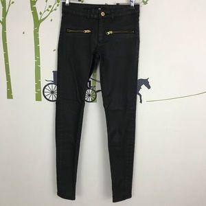 H&M Black Skinny Zipper Jeans